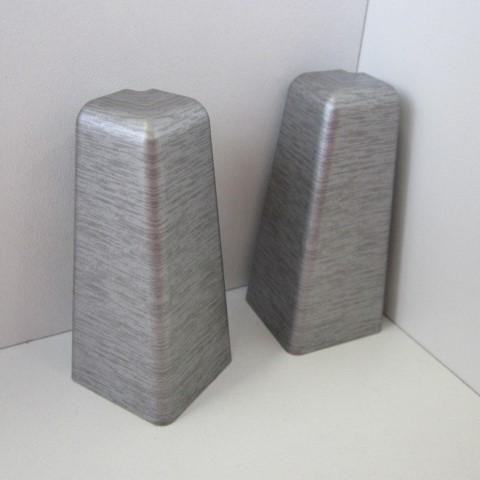 2 Aussenecken für Sockelleiste K58 - Edelstahl gebürstet, matt