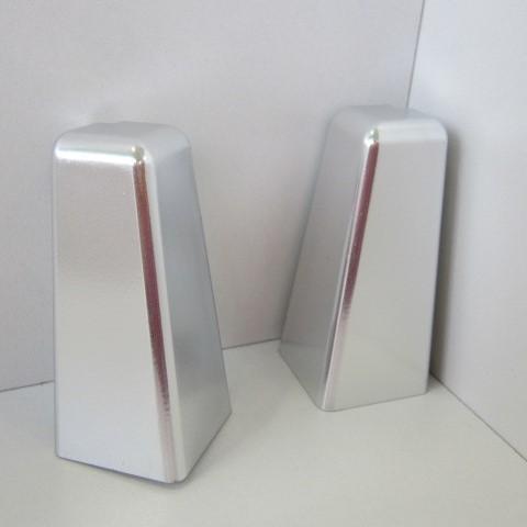 2 Aussenecken für Sockelleiste K58 - Chrom, Silber glänzend