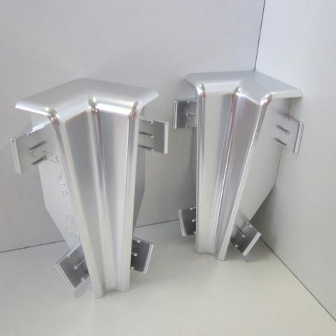 2 Innenecken für Sockelleiste K58 - Chrom, Silber glänzend