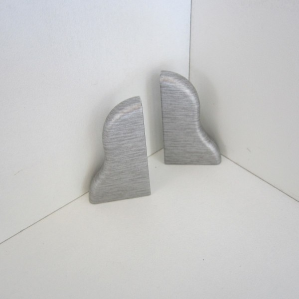 2 Abschlusskappen für Sockelleiste K40 - Edelstahl