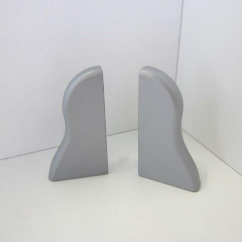 2 Abschlusskappen für Sockelleiste K40 - Silber matt