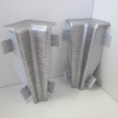 2 Innenecken für Sockelleiste K58 - Edelstahl gebürstet, matt