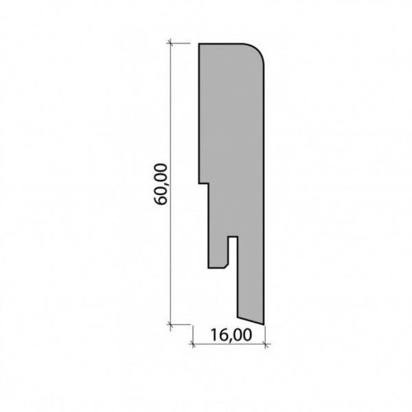 Sockelleiste furniert 16x60 - Eiche (Lack)