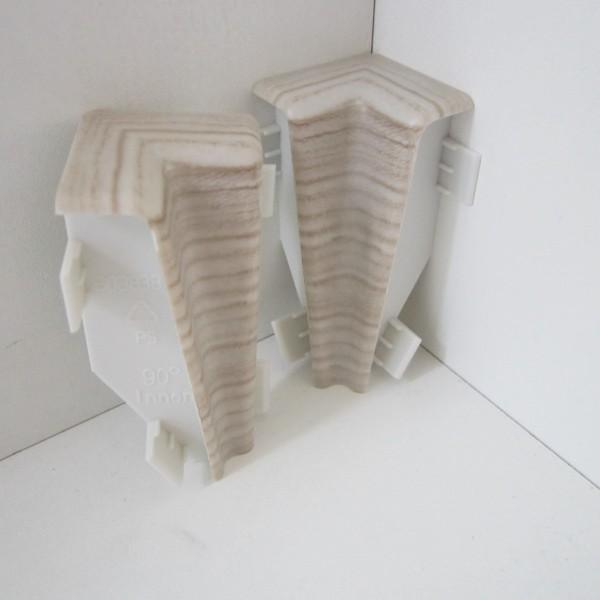 2 Innenecken für Sockelleiste K58 - Eiche weiß