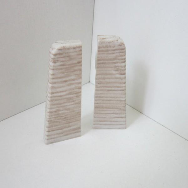 2 Abschlusskappen für Sockelleiste K58 - Eiche weiß